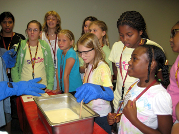 """Participants in WFSU-TV's """"SciGirls"""" science camp conduct experiments at the National High Magnetic Field Laboratory at The Florida State University."""