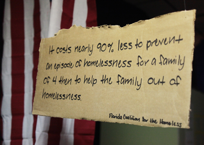 A thought-provoking fact on homelessness was one of the items on display during the exhibit.