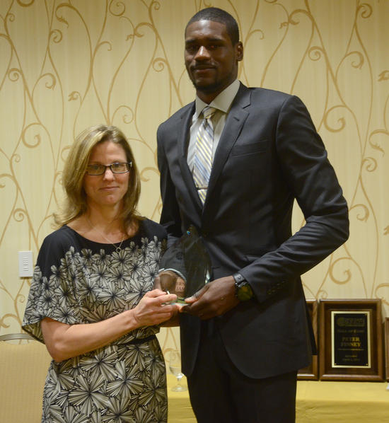 """""""I am honored and humbled to have won the Most Courageous Award from the USBWA,"""" James said at the awards breakfast."""