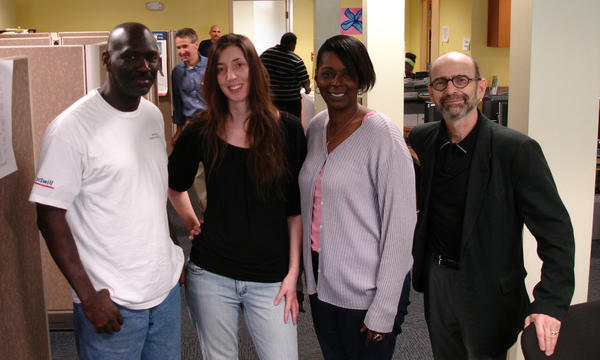 Social Work master's student Oceo Harris, doctoral student Jill Gromer, master's student Felecia Cherry and Professor Tomi Gomory at the Renaissance Community Center in Tallahassee.