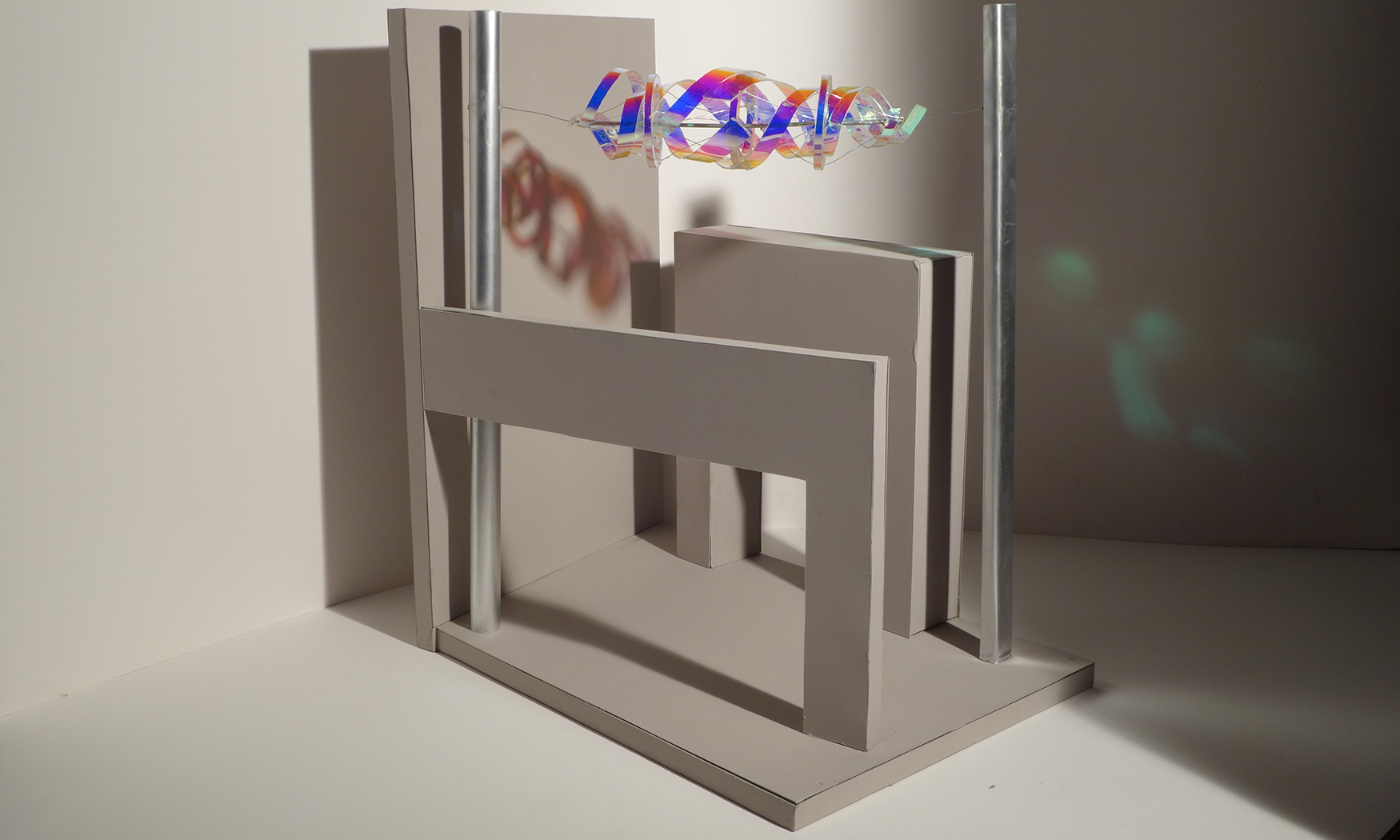 This model shows von Roenn's proposed suspended sculpture for FSU's Aero-Propulsion, Mechatronics and Energy Building.