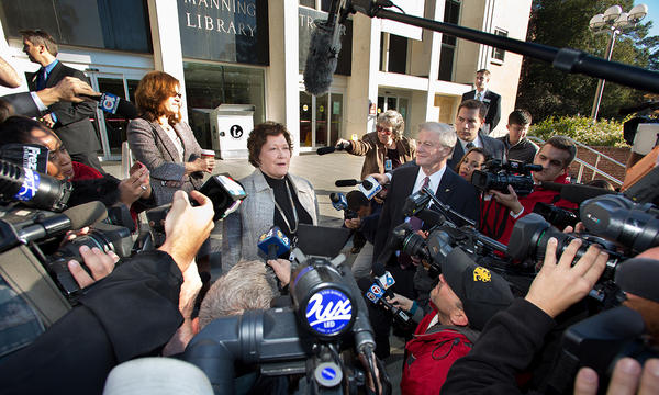 Dean of University Libraries Julia Zimmerman speaks to the media before the reopening of Strozier Library Friday morning.