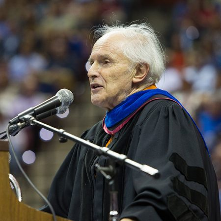 Sir Harry Kroto, FSU's Francis Eppes Professor of Chemistry and the co-recipient of the 1996 Nobel Prize in Chemistry, speaks May 1 commencement. (FSU Photography/Bill Lax)