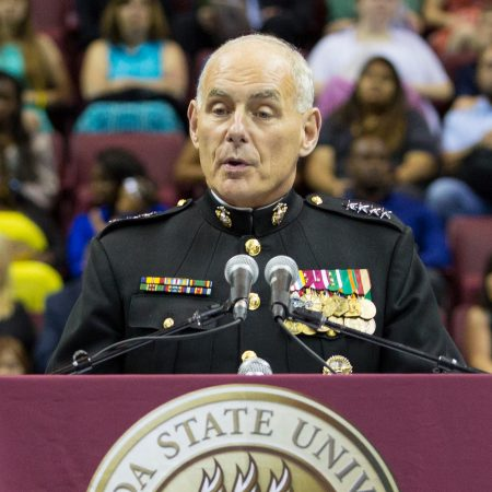 Marine Gen. John F. Kelly, commander of U.S. Southern Command, delivers the Saturday morning commencement address. (FSU Photography/Bill Lax)
