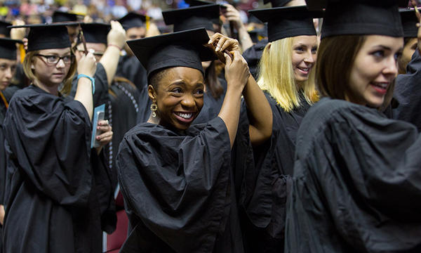 Students shed tears of joy at FSU spring commencement. (FSU Photography/Bill Lax)