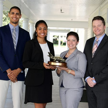 Winning Mock Trial Team members (left to right): Rico Lively, Lauryn Collier, Lolia Y. Fernandez and Charles LeCocq