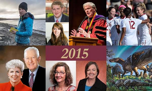 Top (from left to right): Researcher Rob Spencer, Daniel Hubbard, Molly Gordon, President John Thrasher, FSU women's soccer. Bottom: Jan Moran and the late Jim Moran, Laura Green, Provost Sally McRorie, the newly discovered dinosaur, Ugrunaaluk kuukpikensis.
