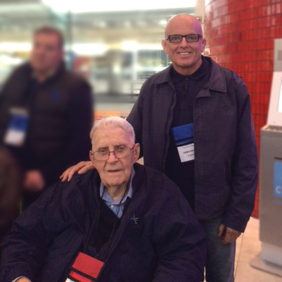 Jim Whyte, professor in the College of Nursing, accompanies retired U.S. Air Force Col. Robert Jones on an Honor Flight to Washington, D.C., April 9.