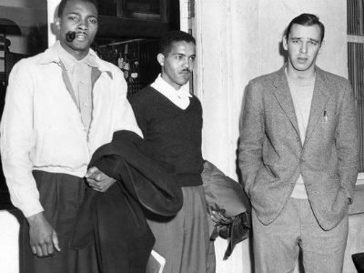 FAMU students Johnny Herndon and Leonard D. Speed of Tallahassee, and FSU student Joe Spagna of St. Petersburg, at the police station following their arrest on charges of violating Tallahassee's bus seating ordinance, Jan. 19, 1957. (AP)