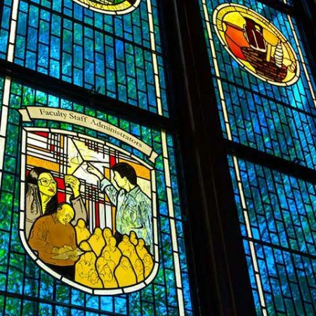 The Association of Retired Faculty stained-glass window in the Heritage Museum commemorates FSU's current and retired faculty, staff and administrators.