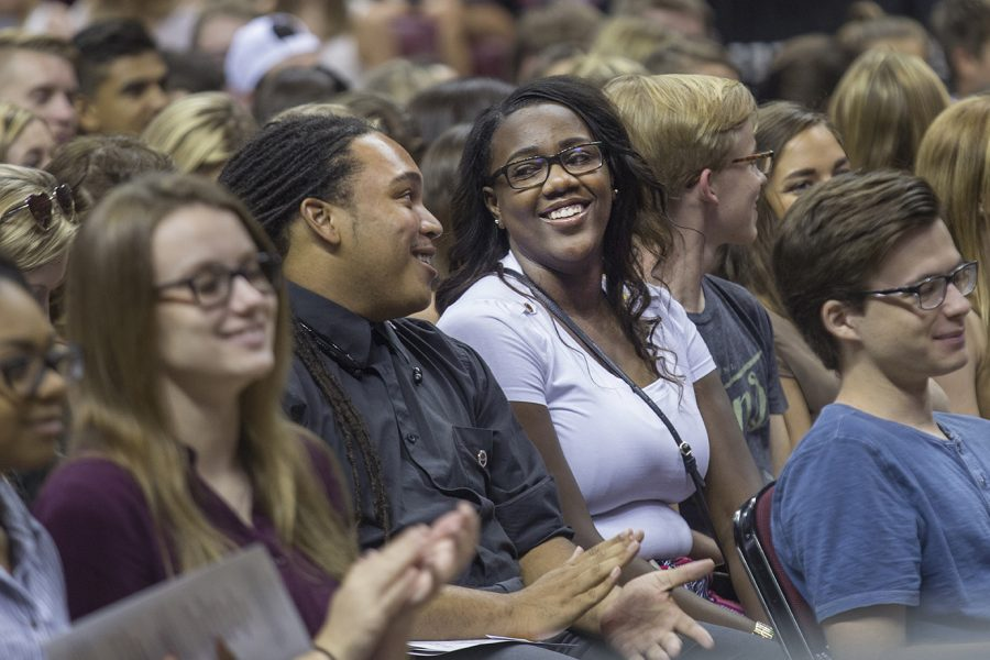 New students are all smiles at Convocation.