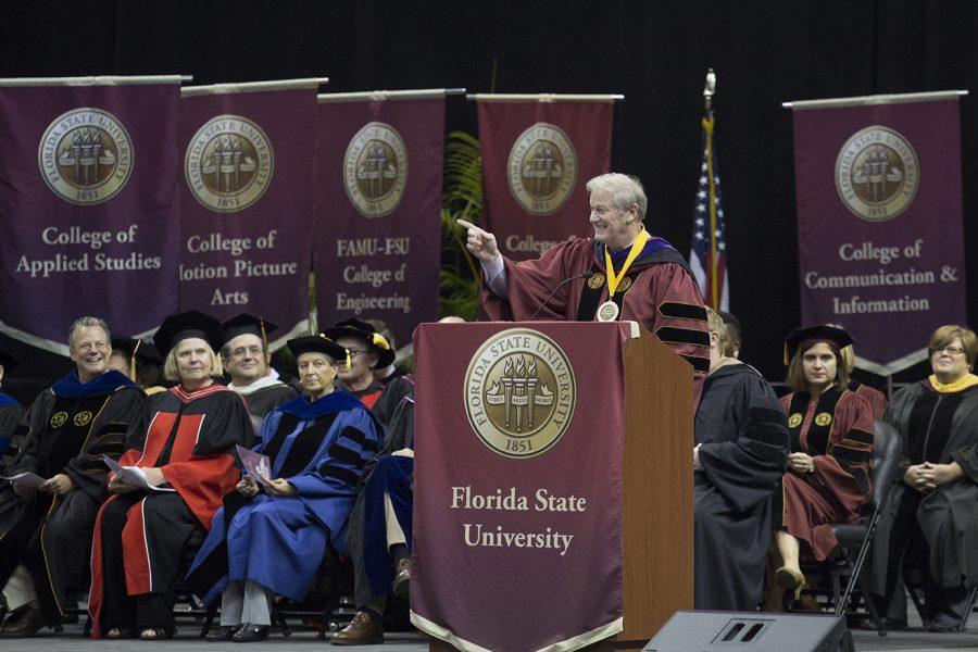 President Thrasher presides over the ceremony.