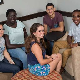 Selected incoming freshmen participated in the Service Leadership Seminar in the week leading up to the first day of class. Left to right: Jully Dong, Akice Agwa, Charlotte Puopolo, Norman Tabora and Caleb Dawkins.