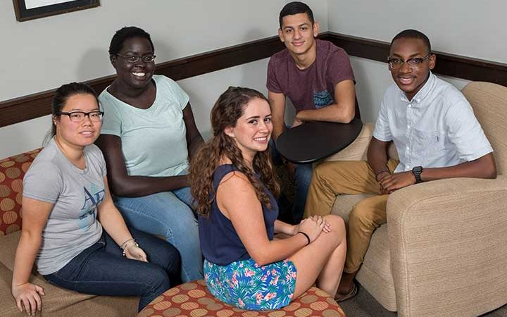Selected incoming freshmen participated in the Seminole Leadership Seminar in the week leading up to the first day of class. Left to right: Jully Dong, Akice Agwa, Charlotte Puopolo, Norman Tabora and Caleb Dawkins.