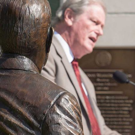 President John Thrasher speaks at the Strozier statue dedication ceremony Thursday, Aug. 25.