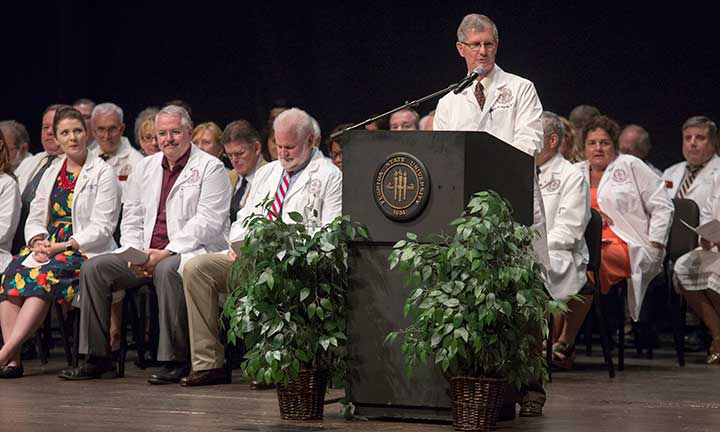 College of Medicine Dean John P. Fogarty addresses the Class of 2020 at FSU's White Coat Ceremony Friday, Aug. 12.