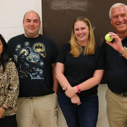 From left to right: Barbara Reyes, the Physics Department's Associate in Teaching and Laboratory Coordinator at FSU; Sean O'Donnell, teacher at Mosley High School; Rachel Morris, teacher at Rutherford High School; Dr. Paul Cottle, Physics Professor at FSU.