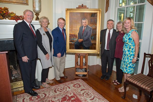 Former FSU President Eric Barron and artist Ed Jonas at the unveiling of the presidential portrait of Eric Barron Tuesday, Oct. 4.