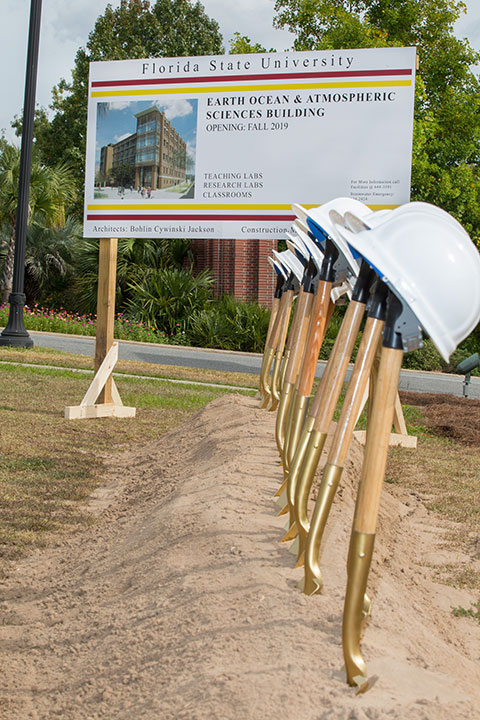 Groundbreaking ceremony for the Earth, Ocean, and Atmospheric Science (EOAS) Building.