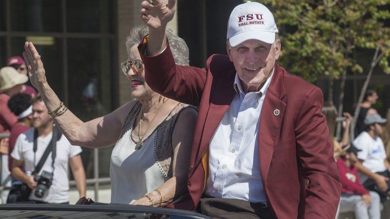 Grand marshals DeVoe and Shirley Moore at the Homecoming Parade 2016