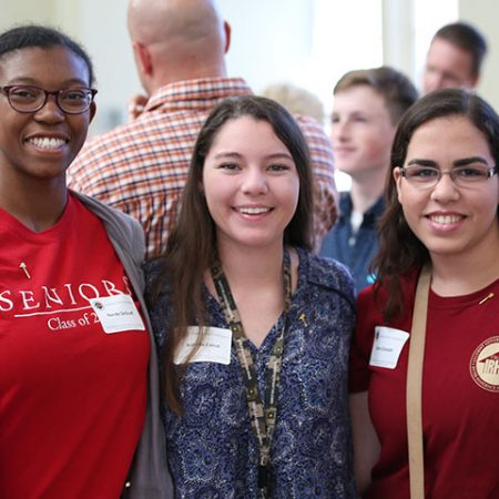 Nande DeGraff, Isabella Canut and Salma Elsheikh – students in the new Interdisciplinary Medical Sciences B.S. Degree Program — enjoy the program's kickoff celebration Friday, Oct. 14. (College of Medicine photo)