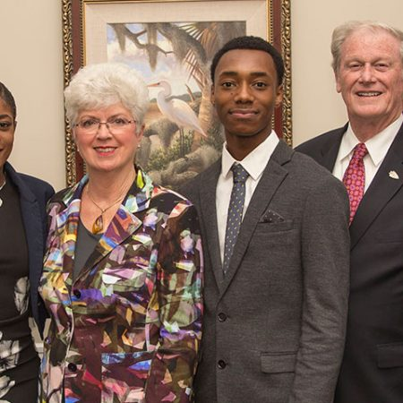 Amber Balkcom, Jan Moran, Dajuan Bowman and FSU President John Thrasher at the 2016 Jim Moran Scholar reception Tuesday, Oct. 18.