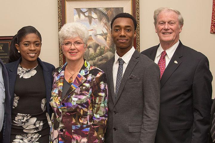 Amber Balkcom, Jan Moran, Dajuan Bowman and FSU President John Thrasher at the 2016 Jim Moran Scholar reception Tuesday, Oct. 18.