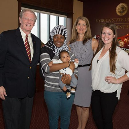 President Thrasher enjoys kickoff with FSU's campaign team and greets community leaders and local families who benefit from United Way services.