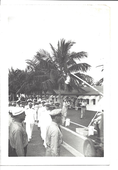 This depicts what we believe to be the change of command ceremony for Admiral Francis Rockwell for the 16th Naval District of the Philippine Islands, or a review of Cavite Navy Yard by Rockwell on or about November 5, 1941 when Rockwell assumed command of the 16th Naval District which was under the then