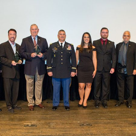 Christian Tureud and David Salzberg, co-directors of 'Citizen Soldier'; Major General Ron Harrison; Col. Mike Canzoneri; Erica Menendez, Veteran Student Union; Vince Williams, Collegiate Veterans Association; Paul Cohen, executive director of the Torchlight Program; FSU President John Thrasher at the FSU Student Veteran Film Festival Nov. 12, 2016.