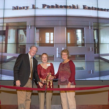 President John Thrasher, Mary L. Pankowski and Marjorie Turnbull at the ribbon cutting and dedication of the new Mary L. Pankowski entrance.