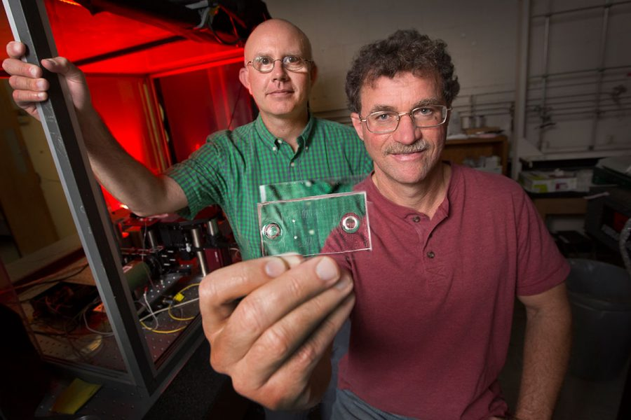 Florida State University's Michael Roper, an associate professor in the Department of Chemistry and Biochemistry, and Richard Bertram, professor of mathematics, are using a mix of math and technology in an ambitious search for a cure to Type 2 diabetes. (FSU Photography)