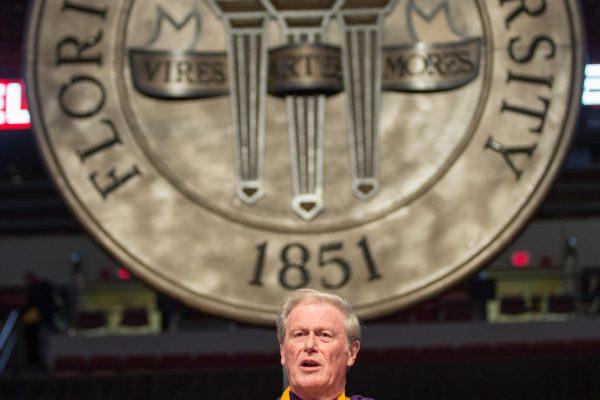 Florida State President John Thrasher addresses graduates at the 2016 Fall Commencement.