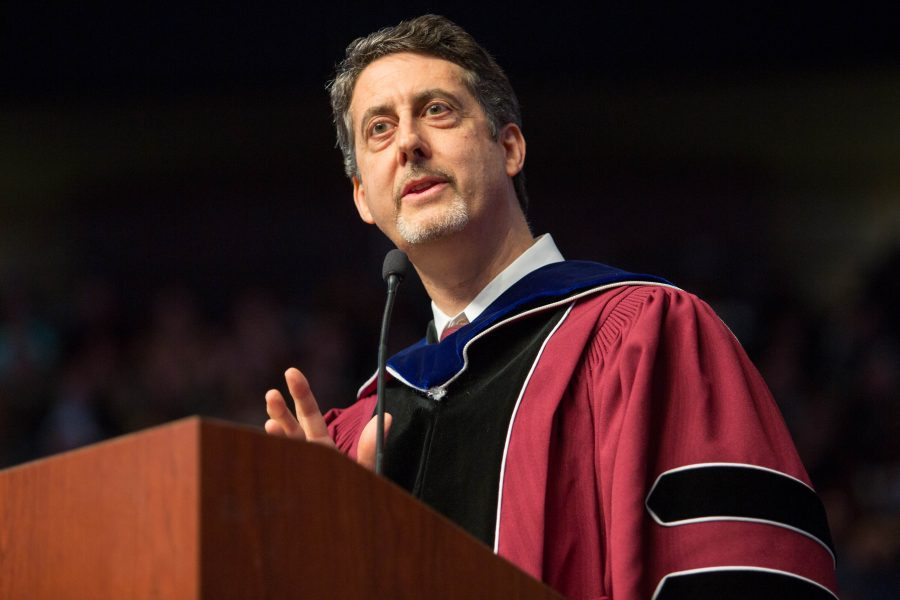 Friday night speaker Professor Joseph Schlenoff addresses graduates.