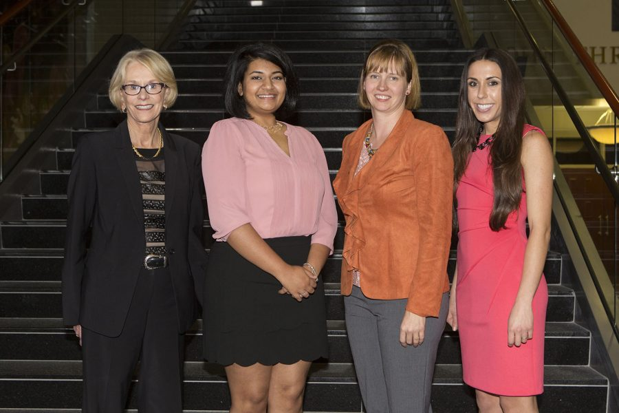 3 Minute Thesis Finalist Competition Dr. Judy Devine, Madhuparna Roy (winner), Shaleen Miller (runner-up) and Tania Reynolds (people's choice).