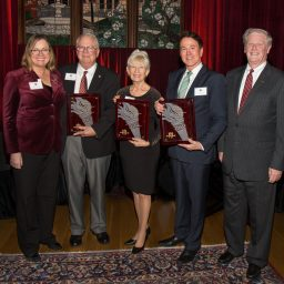 The Florida State Faculty Senate's 2016 Torch Award recipients from left, David Warmath, Paula Fortunas and Davis Gaines, pose with President John Thrasher and Provost Sally McRorie.