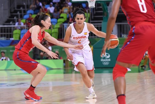 Leticia Romero (middle) averaged 5.8 points off the bench to help Spain win its first Olympic medal in women's basketball.