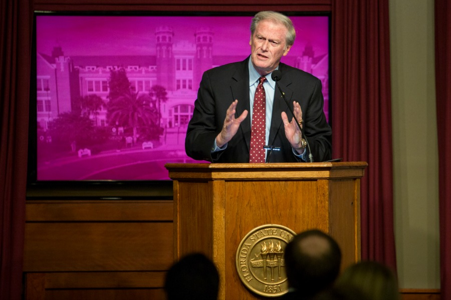 President John Thrasher delivers his annual State of the University address to the FSU Faculty Senate Wednesday, Dec. 7.