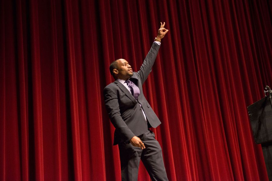 Marc Lamont Hill speaks at the 29th Annual MLK Celebration Tuesday, Jan. 17. Photo credit: Julia Crabtree