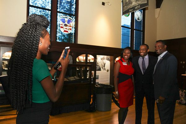 Marc Lamont Hill with students at the 29th Annual MLK Celebration Tuesday, Jan. 17. Photo credit: Lauren Alsina