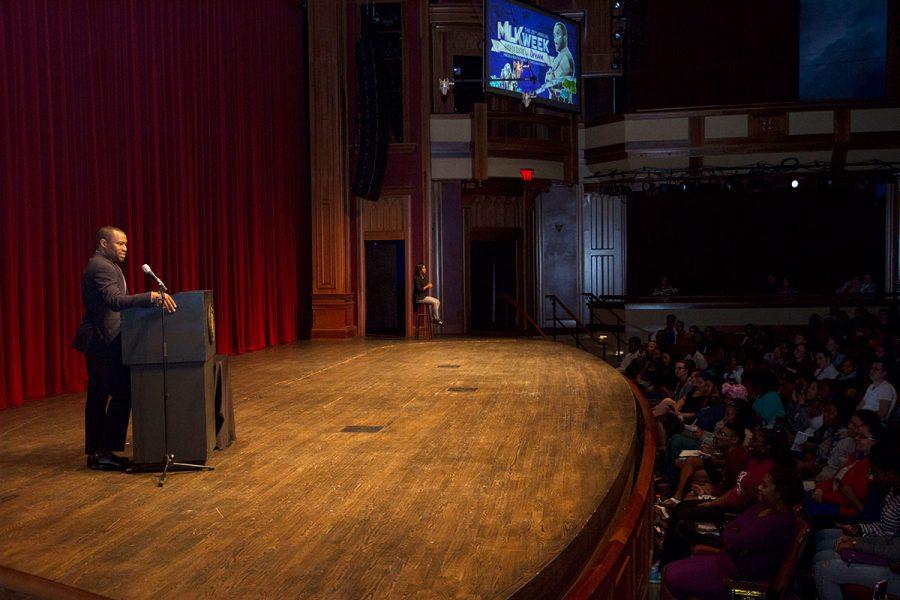Marc Lamont Hill speaks at the 29th Annual MLK Celebration Tuesday, Jan. 17. Photo credit: Lauren Alsina