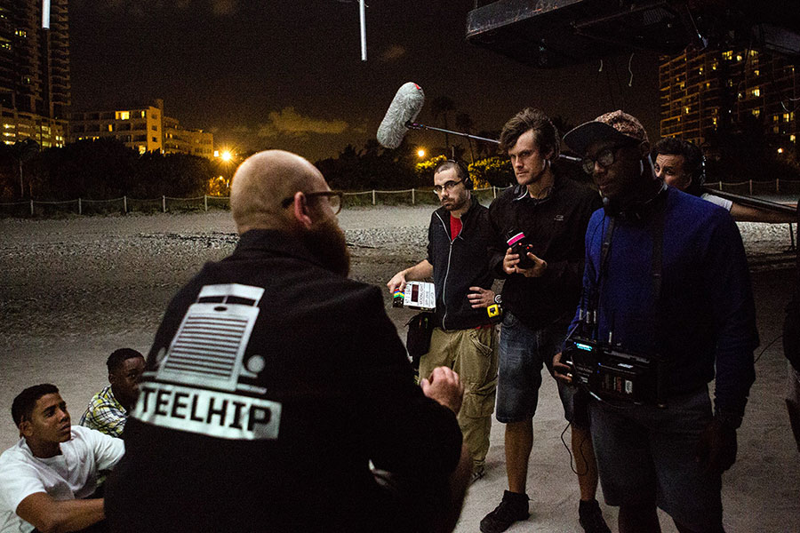 "Jenkins and Laxton on the set of ""Moonlight."""