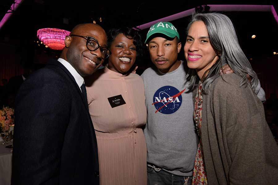 The Oscar® Nominees Luncheon in Beverly Hills Monday, February 6, 2017. The 89th Oscars® will air on Sunday, February 26, live on ABC. Pictured (left to right): Barry Jenkins, Joi McMillon, Pharrell Williams and Mimi Valdes. Aaron Poole / ©A.M.P.A.S.