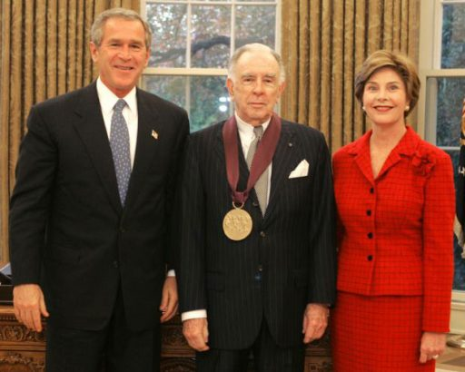 President George W. Bush and Laura Bush present the National Medal of Arts award to Carlisle Floyd in 2004. White House photo by Susan Sterner.