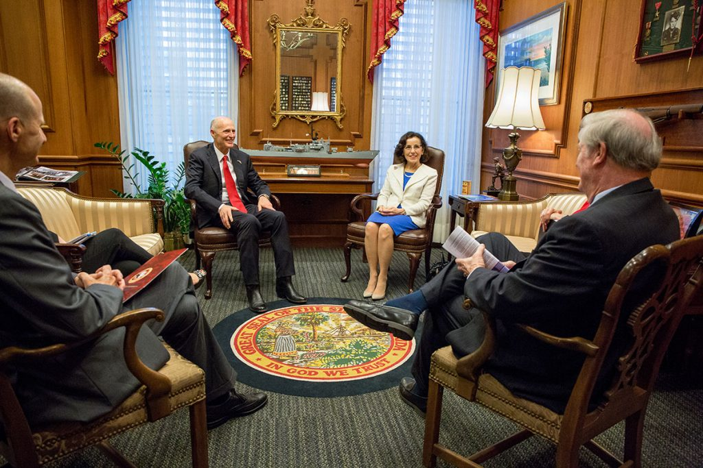 National Science Foundation Director France Córdova joins Vice President for Research Gary Ostrander and President John Thrasher for a meeting with Gov. Rick Scott on March 7, 2017.