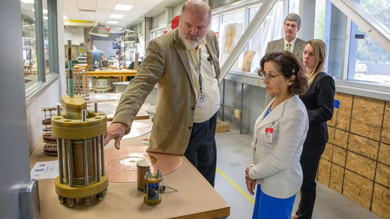 National Science Foundation Director France Córdova tours the National High Magnetic Field Laboratory March 7, 2017.
