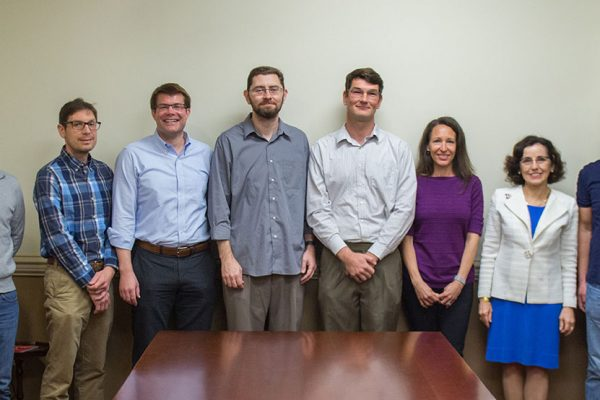 NSF CAREER Award winners Eugene Deprince, Kenneth Knappenberger, Christian Bleiholder, Jonathan Clark, Oskar Vafek, Karen McGinnis and Zhenghao Zhang meet with NSF Director France Córdova March 7, 2017.