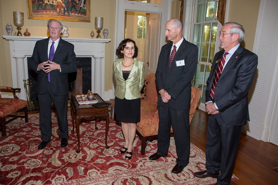 President John Thrasher, Vice President for Research Gary K. Ostrander and Trustee Mark Hillis with NSF Director France Córdova's at a dinner March 6, 2017.