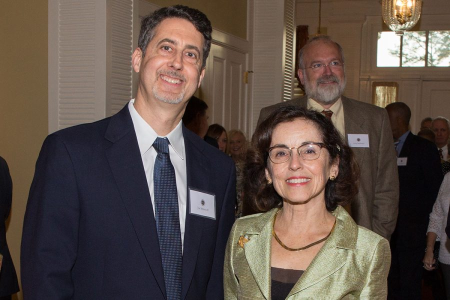 Lawton Professor of Chemistry Joe Schlenoff and NSF Director France Córdova's at a dinner March 6, 2017.