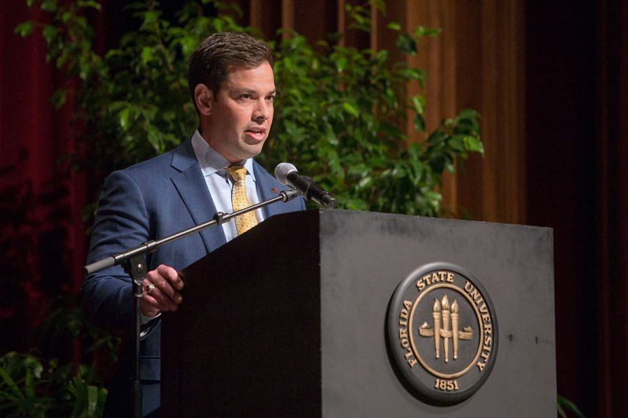 Josh Tyler ('02) speaks at the 2017 FSU Ring Ceremony Thursday, March 30.